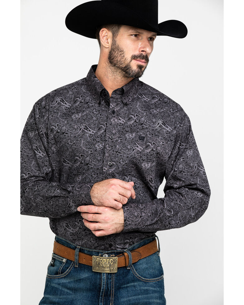 Cinch Men's Black Paisley Print Button Long Sleeve Western Shirt , Black, hi-res
