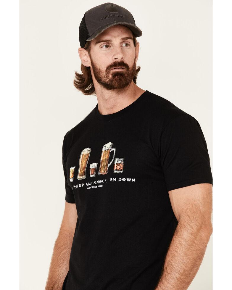 Moonshine Spirit Men's Black Line Em Up Graphic T-Shirt , Black, hi-res