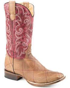 Roper Women's Waxy Tan Western Boots - Square Toe, Tan, hi-res