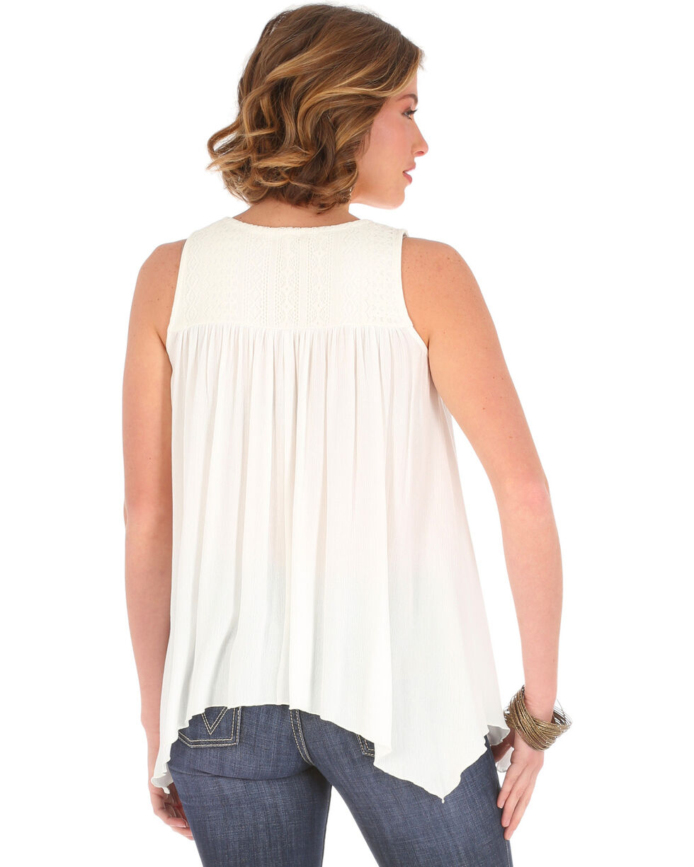 Wrangler Women's Cream Tassel Tie and Lace Peasant Top , Cream, hi-res