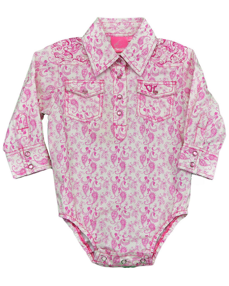 Cowgirl Hardware Infant Girls' Pink Paisley Embroidered Long Sleeve Onesie, Pink, hi-res