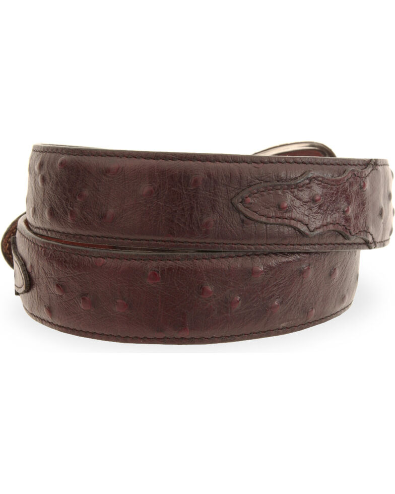 Tony Lama Men's Ostrich Embossed Leather Belt, Black Cherry, hi-res