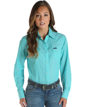 Wrangler Women's Chambray Long Sleeve Western Top, Green, hi-res