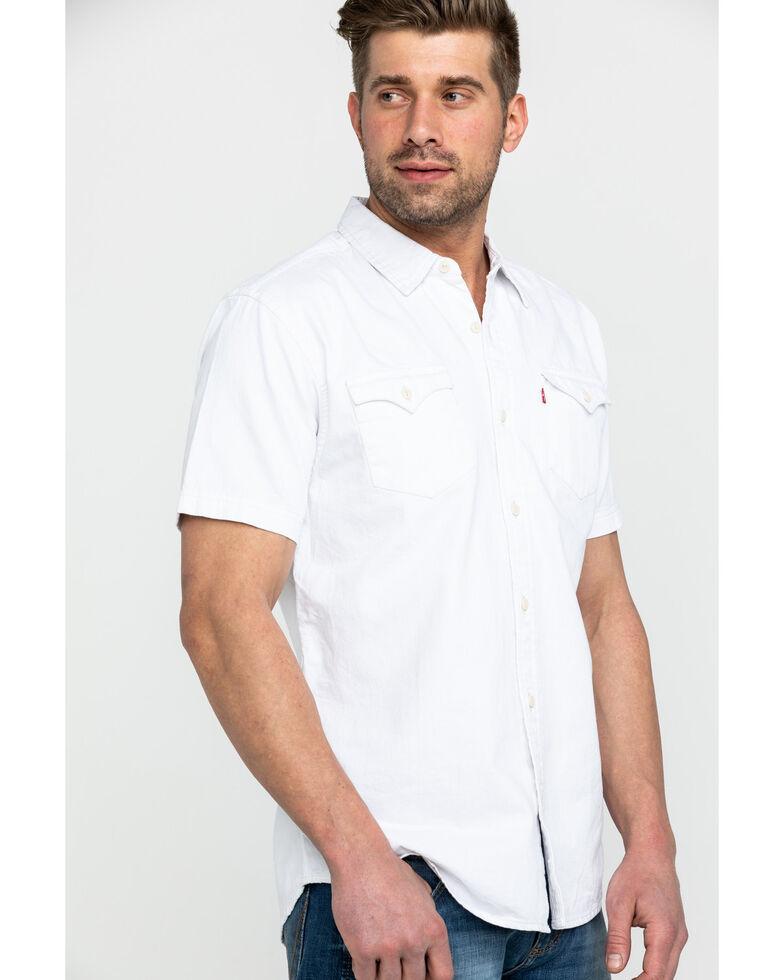 Levis Men's White Nevin Denim Short Sleeve Western Shirt , White, hi-res