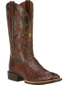 Ariat Men's Quantum Classic Full-Quill Ostrich Western Boots, Antique Tobacco, hi-res
