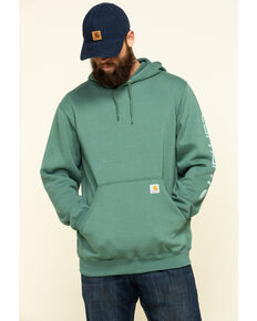Carhartt Men's Olive Midweight Signature Sleeve Logo Hooded Work Sweatshirt , Olive, hi-res