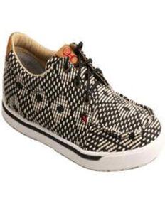 Twisted X Women's HOOey Loper Shoes, Black/white, hi-res