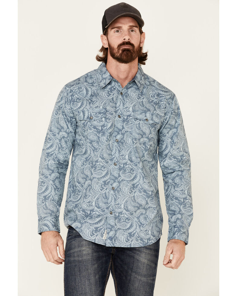 Moonshine Spirit Men's Bayou Born Large Paisley Print Long Sleeve Western Shirt , Light Blue, hi-res