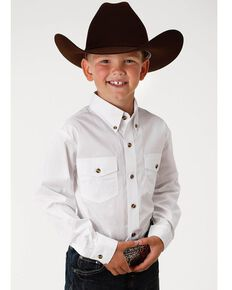 Roper Boy's Long Sleeve Poplin Western Shirt, White, hi-res