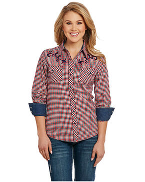 Cowgirl Up Women's Enzyme Wash Embroidered Long Sleeve Western Shirt, Red, hi-res