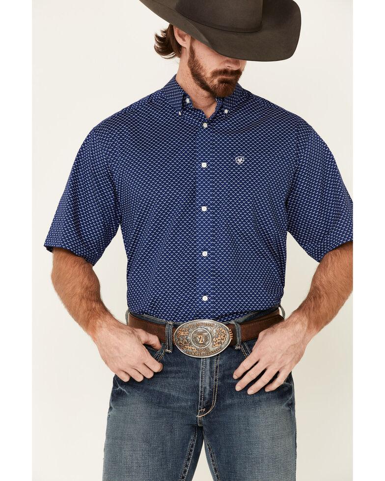 Ariat Men's Fanon Stretch Geo Print Short Sleeve Western Shirt , Blue, hi-res