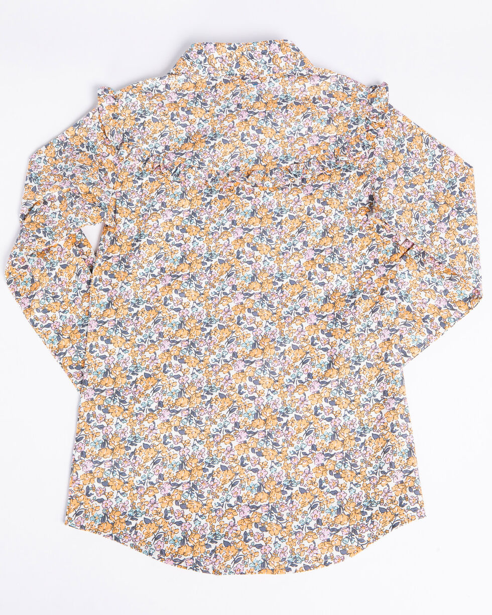 Shyanne Girls' Floral Ditsy Print Long Sleeve Western Shirt , Coral, hi-res