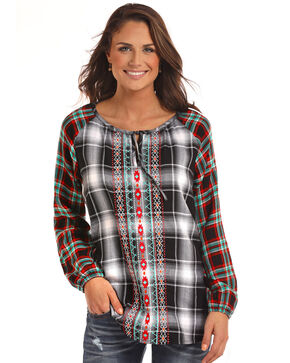 Panhandle Women's Plaid Embroidered Peasant Top, Black, hi-res