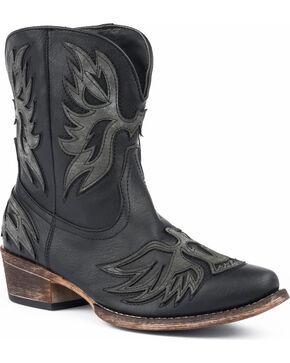 Roper Women's Amelia Eagle Overlay Short Western Boots - Snip Toe, Black, hi-res