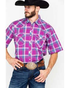 Wrangler 20X Men's Advanced Comfort Berry Plaid Short Sleeve Western Shirt, Red, hi-res