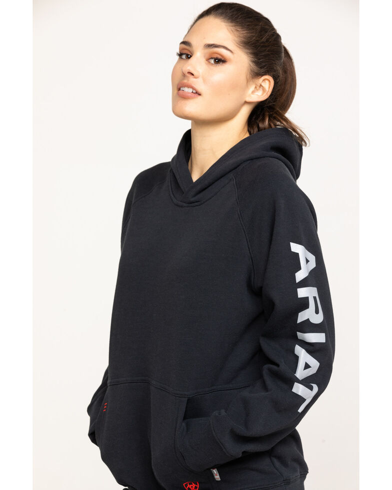 Ariat Women's FR Primo Fleece Logo Hoodie, Black, hi-res