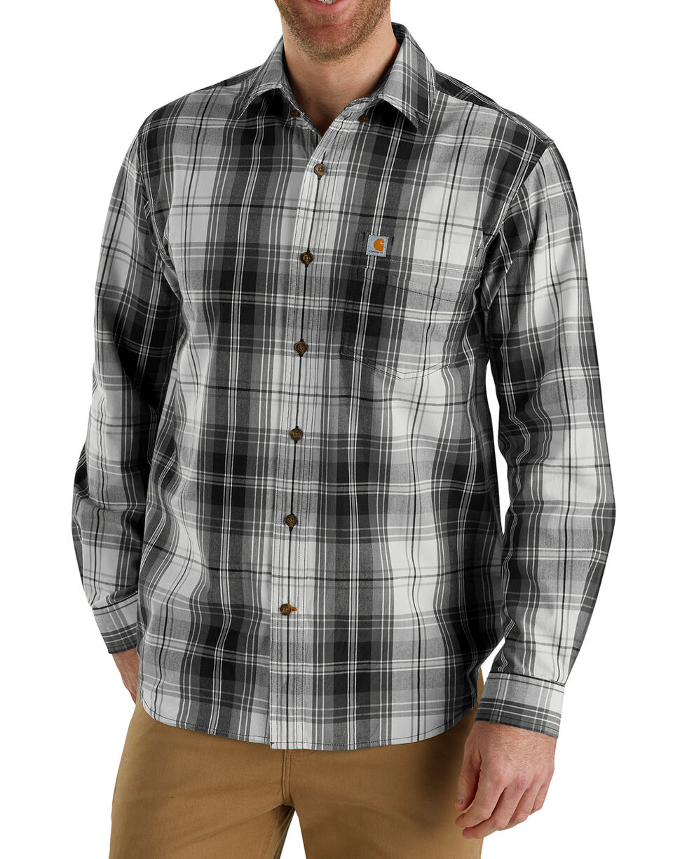 Carhartt Men's Essential Plaid Button-Down Shirt - Big & Tall , Black, hi-res