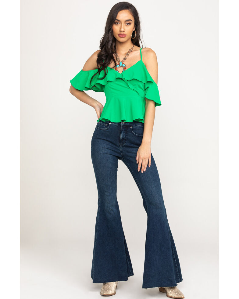 Flying Tomato Women's Ruffle Cold Shoulder Top, , hi-res