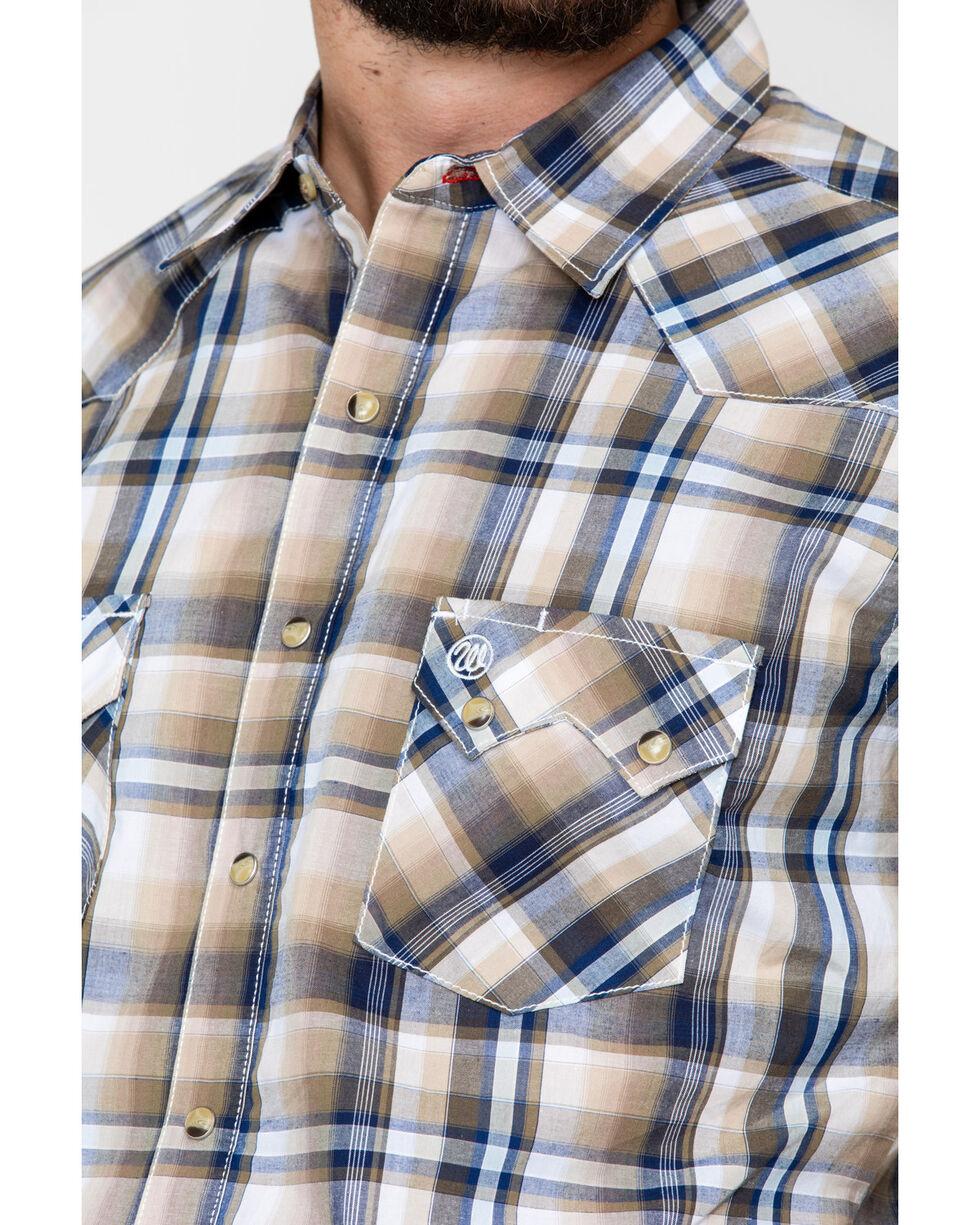 Wrangler Retro Men's Plaid Short Sleeve Western Shirt, Brown/blue, hi-res