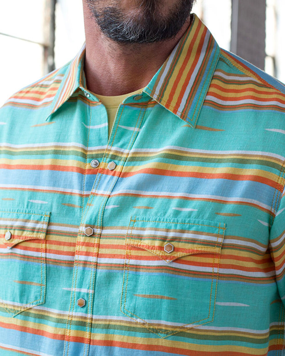 Ryan Michael Men's Seafoam Serape Stripe Shirt , Light Green, hi-res