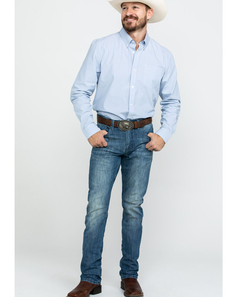 Cody James Core Men's Pinpoint Dobby Geo Print Long Sleeve Western Shirt - Big, , hi-res