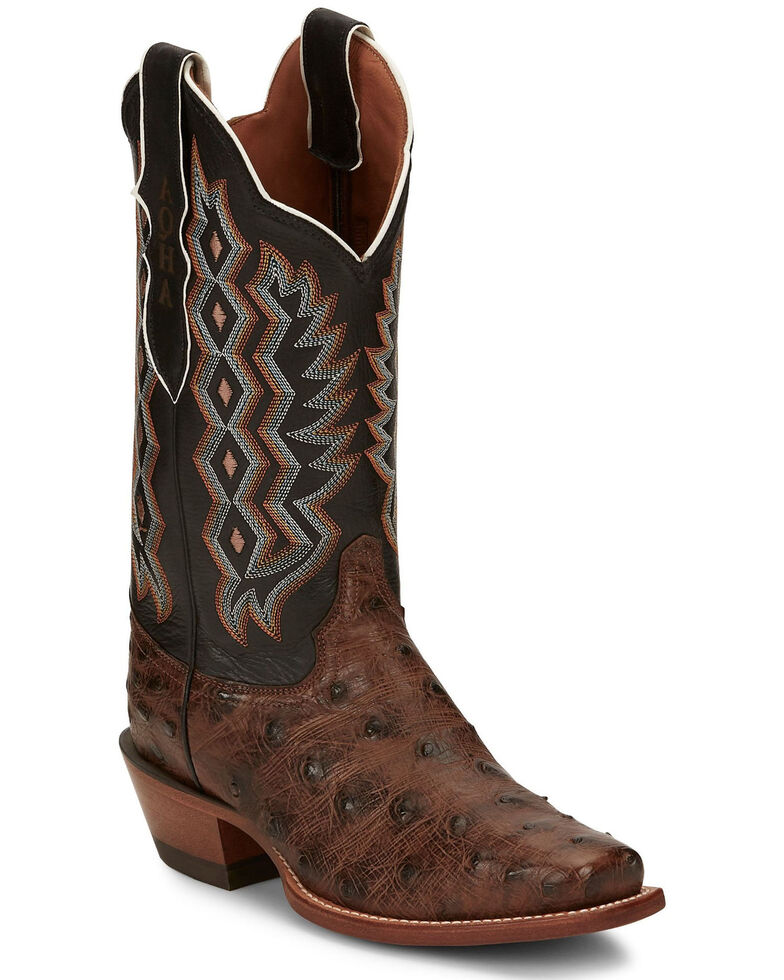 Justin Women's Magnolia Full-Quill Ostrich Western Boots - Narrow Square Toe, Dark Brown, hi-res
