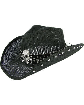Peter Grimm Women's Crystal Skull Black Straw Hat, Black, hi-res
