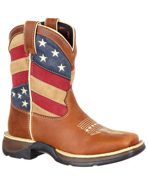 Durango Boys' Patriotic Flag Western Boots - Square Toe, Brown, hi-res