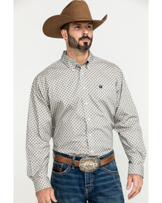 Cinch Men's Grey Small Paisley Print Long Sleeve Western Shirt - Big , Grey, hi-res