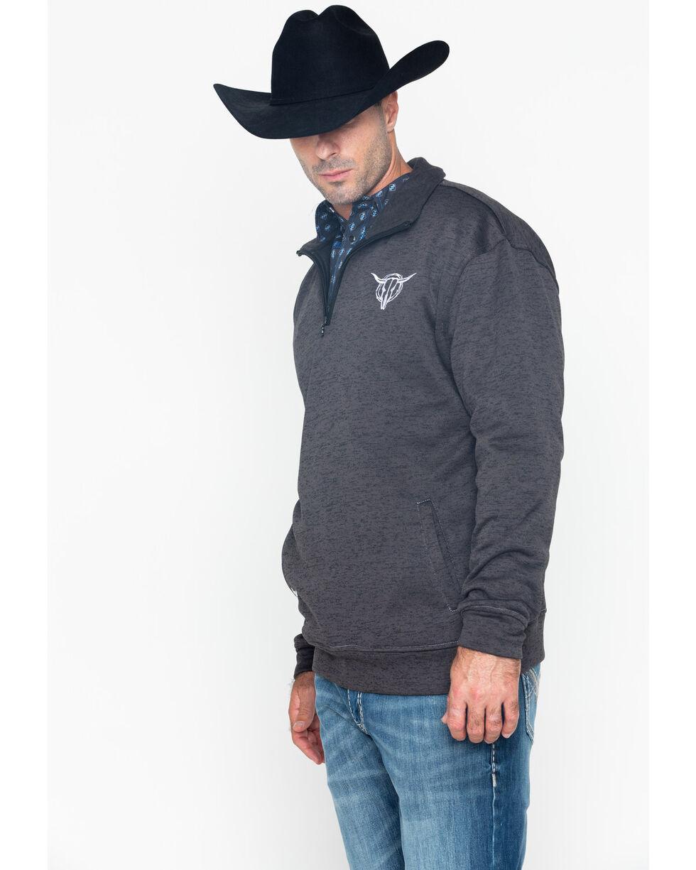 Cowboy Hardware Men's Poly Cadet Barbed Skull Pullover, Charcoal, hi-res