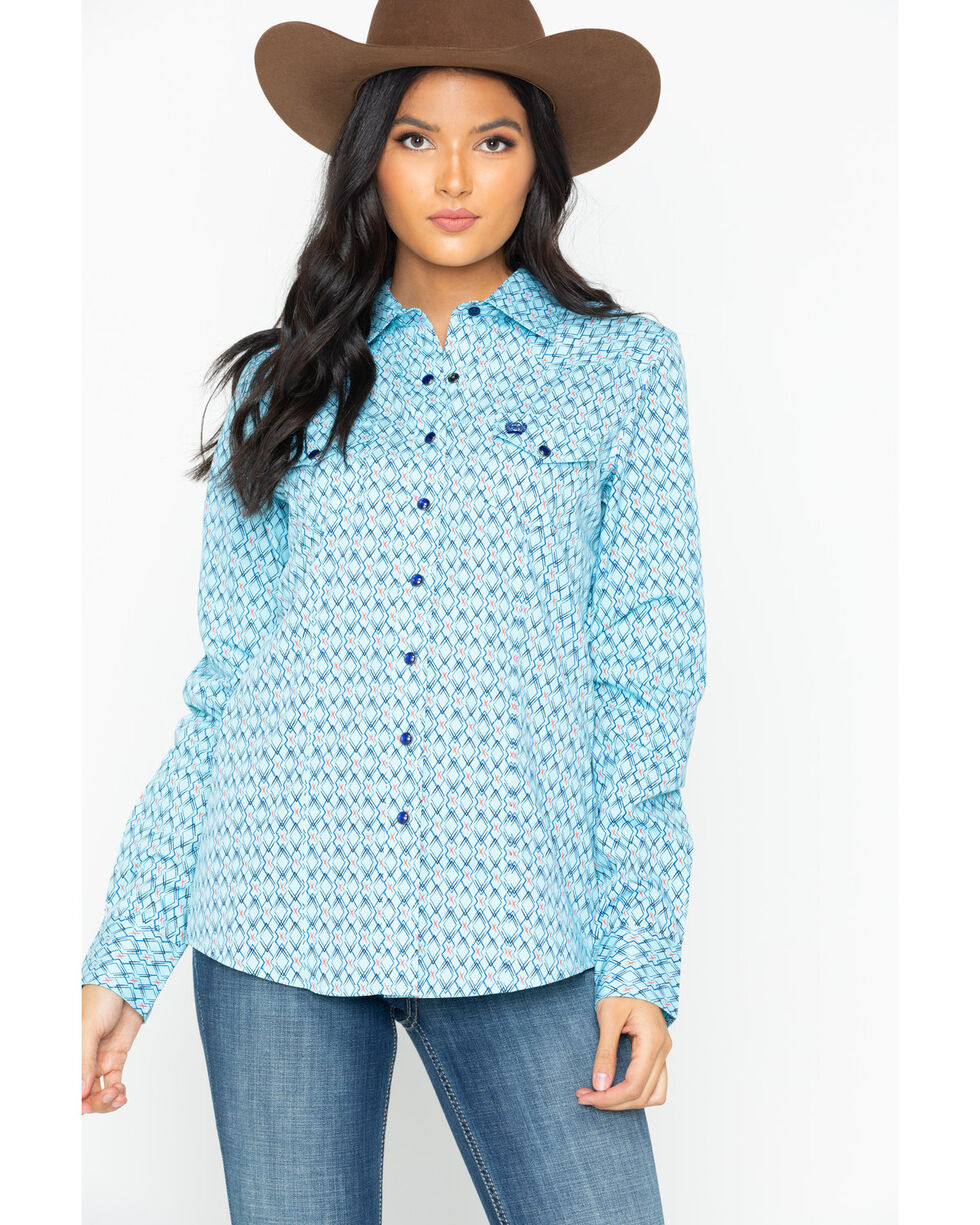Cinch Women's Geometric Print Snap Western Shirt , Light Blue, hi-res