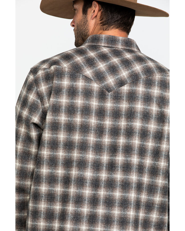Pendleton Men's Multi Canyon Ombre Plaid Long Sleeve Western Flannel Shirt , Brown, hi-res