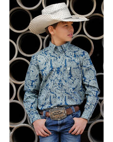 Cinch Boys' Navy Paisley Print Button Long Sleeve Western Shirt  , Navy, hi-res