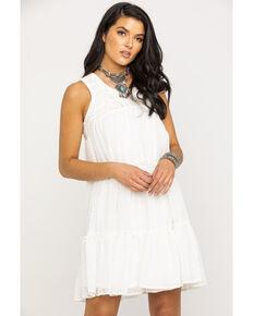 Wrangler Women's Ivory Crochet Top Swiss Dot Tiered Dress, Ivory, hi-res
