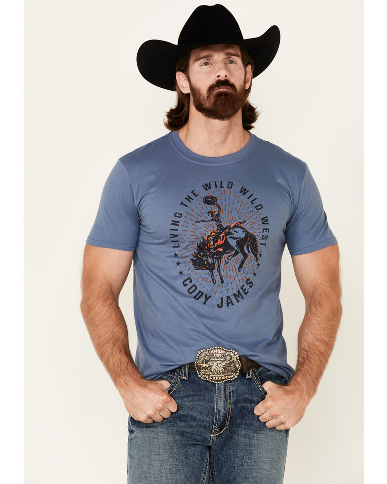 Cody James Men's Livin The Wild West Graphic Short Sleeve T-Shirt , Blue, hi-res