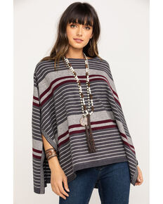 Stetson Women's Ombre Striped Poncho, Grey, hi-res