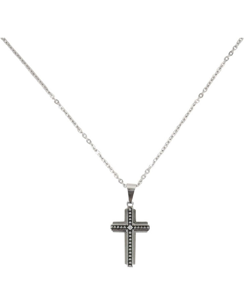 Moonshine Spirit® Men's Beaded Layer Cross Necklace, Silver, hi-res