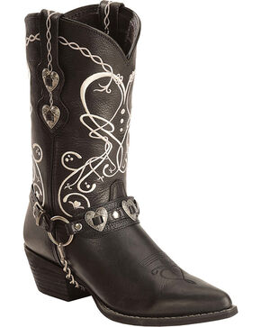 Durango Women's Boot Barn Exclusive Heart Harness Western Boots, Black, hi-res