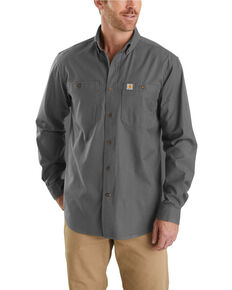 Carhartt Men's Rugged Flex Rigby Long Sleeve Work Shirt - Tall , Charcoal, hi-res