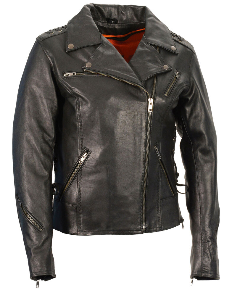 Milwaukee Leather Women's Lightweight Lace To Lace Motorcycle Leather  Jacket - 4X, Black, hi-res