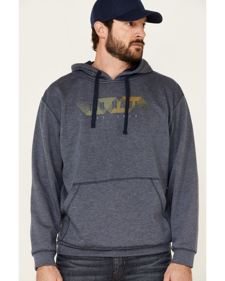 Tin Haul Men's Blue Geometric Abstract Logo Hooded Sweatshirt , Blue, hi-res