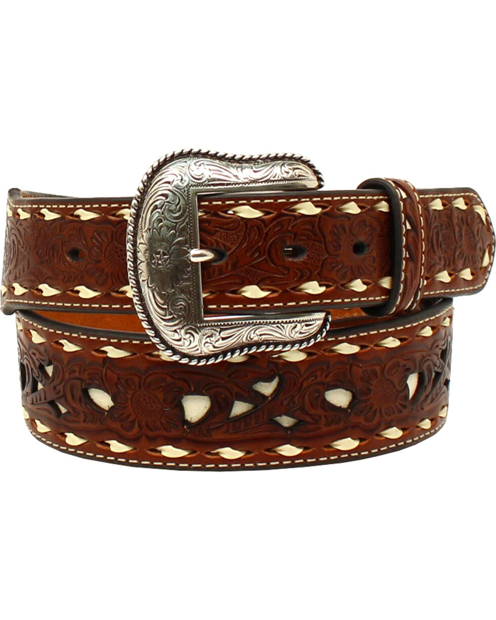 Nocona Men's Lacing Embossed Floral Contrast Western Belt , Tan, hi-res