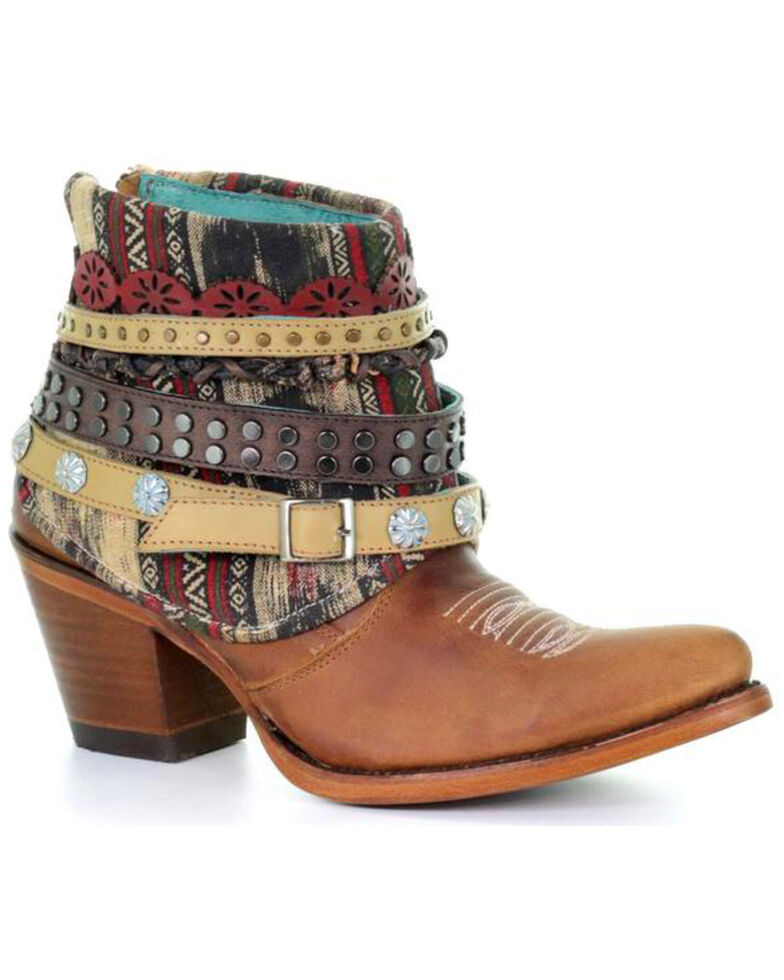 Corral Women's Honey Studded & Woven Harness Booties - Pointed Toe, Honey, hi-res