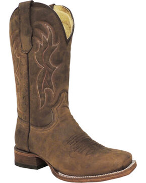 Circle G Men's Square Toe Western Boots, Brown, hi-res