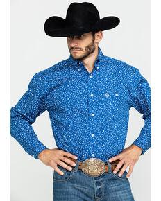 George Strait by Wrangler Men's Paisley Print Long Sleeve Western Shirt , Blue/white, hi-res