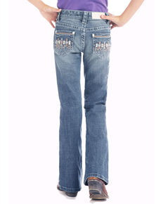 Rock & Roll Cowgirl Girls' Light Wash Aztec Pocket Bootcut Jeans, Blue, hi-res
