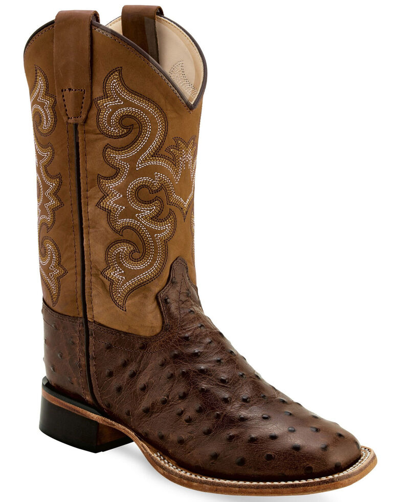 Old West Boys' Faux Ostrich Print Western Boots  - Wide Square Toe, Tan, hi-res