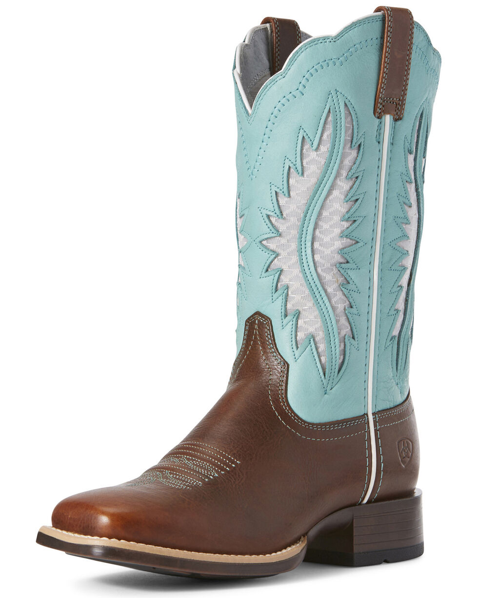 Ariat Women's Solana VentTEK Western Boots - Wide Square Toe, Brown, hi-res