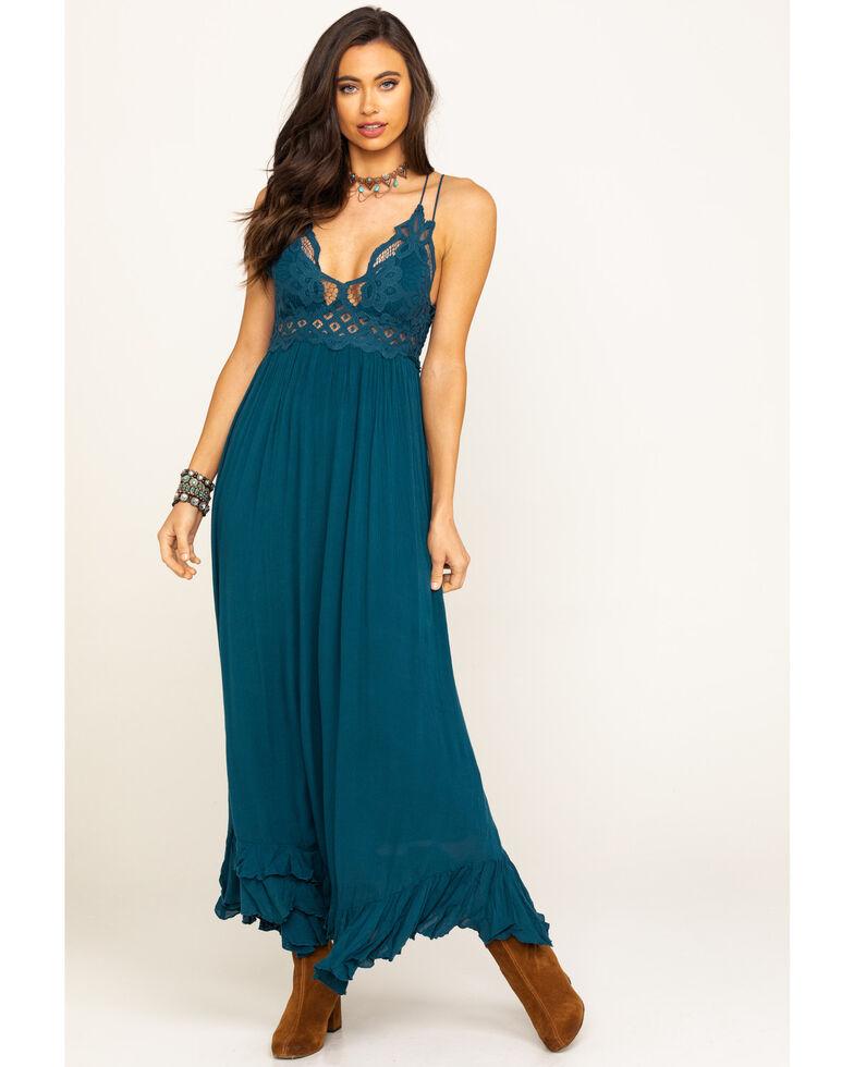 Free People Women's Adella Maxi Slip Dress, Turquoise, hi-res