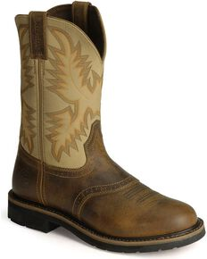 Justin Men's Steel Toe Work Boots, Brown, hi-res
